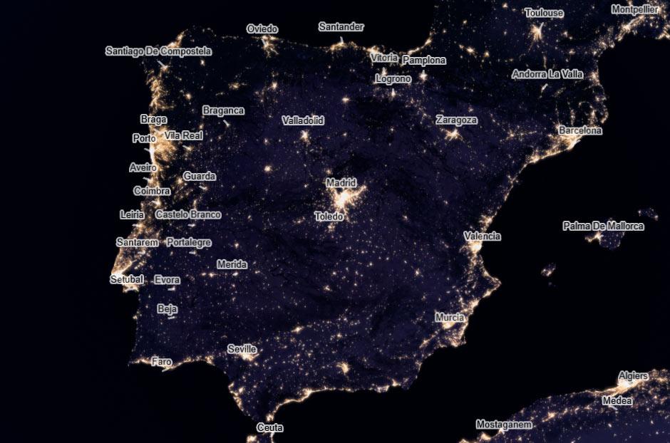Mapa contaminación lumínica España